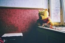 Old Teddy Bear On Window Sill