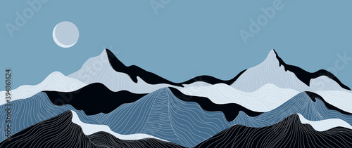 Mountain line arts background vector. Landscape with mountains and sun, Mountainous terrain, Sun set wallpaper design for wall arts, cover, fabric. Vector illustration. - fototapety na wymiar