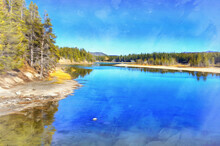 Yellowstone Lake Colorful Painting Looks Like Picture