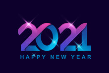 Modern Color 2021 With People Celebration Logo Vector With Background, Happy New Year Logo Design