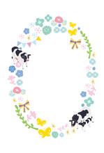 年賀状デザイン 丑年 2021年 花と牛のイラスト