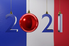 3D Illustration  2021 Happy New Year Against The Background Of The National Flag Of France, 2021 White Letter . Illustration Of The Symbol Of The New Year.