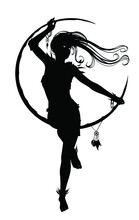 The Silhouette Of A Beautiful Young Girl Sitting Elegantly On A Crescent Moon As If On A Swing, She Has Long Hair Fluttering In The Wind. 2d Illustration