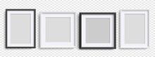 Photo Frames Isolated, Realistic Black, White Frames Mockup, Vector Set