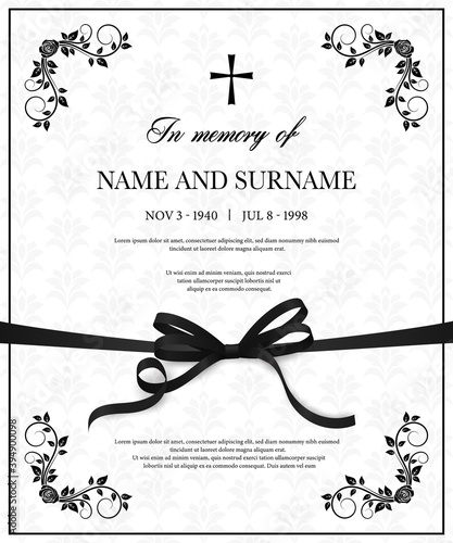 Funeral vector card with vintage condolence flower ornamental flourishes, christian cross, black mourning ribbon, name, birth and death dates place. Obituary memorial decorative funereal card template Wall mural