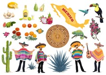 Mexico Vector Set With Mexican Food, Culture And Travel Symbols. Cactus, Guitar, Sombrero And Tequila, Mexican Men With Poncho, Maracas, Map, Aztec Sun Stone And Agave, Toucan And Hummingbird