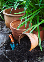 Terracotta Pots Ready For Planting In Garden Setting