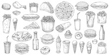 Sketch Fast Food Isolated Vector Icons Pizza, Popcorn, Nachos And Taco With Soda Drink. Ice Cream, Donut And Cupcake Burritos And Burger With Hot Dog And French Fries Junk Meals, Street Fastfood Set