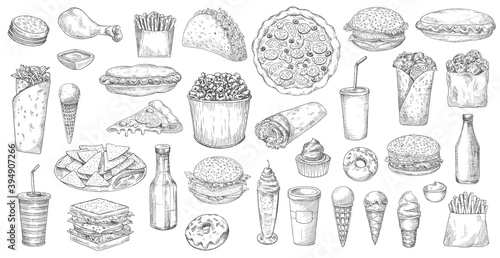 Fototapeta Sketch fast food isolated vector icons pizza, popcorn, nachos and taco with soda drink