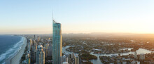 Panorama Aerial Of Surfers Paradise And Surrounding Suburbs