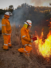 Firemen In Protective Clothing Back Burning Forest Floor