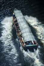 Aerial View Of Express Boat With Water Splash In Canal, Travelling Via Saen Saep Canel In Bangkok, Thailand