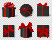 Black Gift Box. Realistic 3d Dark Cardboard Round And Square Boxes With Red Silk Ribbons And Bows, Different Angles Side And Top Views. Black Friday Advertisement Vector Isolated Set