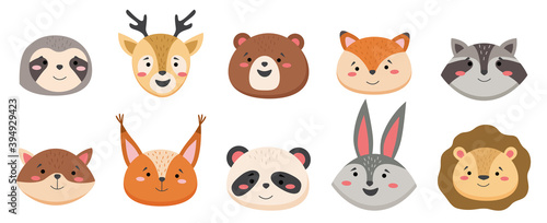 Fototapeta premium Cartoon avatar of the cute wild animals collection, smiling characters portrait isolated on white background. Emoji funny animal. Embarrassed smile emotion. Template pattern icon. Logo, sticker