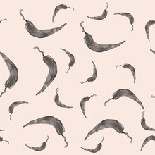 Hand Drawn Aquarelle Of Pepper Pattern