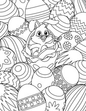 An Easter Eggs Cartoon Coloring Book Black And White Outline Page Background With A Cute Easter Bunny Breaking Out Of One
