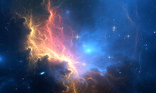 Glowing Huge Nebula With Young Stars. Space Background