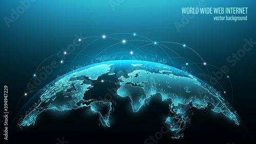 Obraz Blue futuristic background with planet Earth. Vector. Internet satellites transmit signals. Map of the planet. Global social network. Future. Internet and technology. Floating blue plexus geometric. - fototapety do salonu