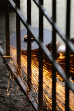 Rusty Metal Fence Cutting