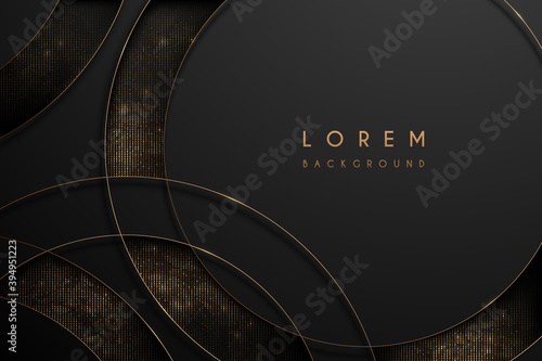 Abstract gold and black circle background Fototapet