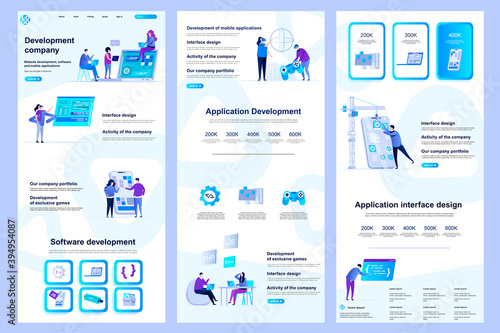 Obraz Development company flat landing page. Software engineering, application development corporate website design. Web banner template with header, middle content, footer. Vector illustration with people. - fototapety do salonu