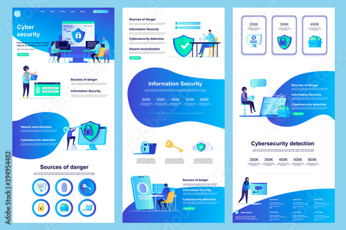 Fototapeta Cyber security flat landing page. Information security, data protection software corporate website design. Web banner with header, middle content, footer. Vector illustration with people characters. obraz