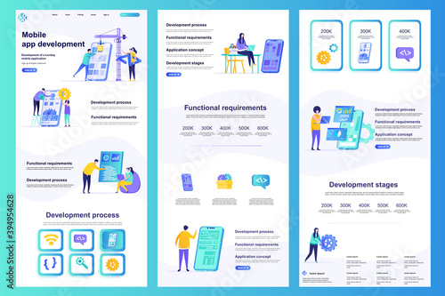 Fototapeta Mobile app development flat landing page. Smartphone application construct and testing corporate website. Web banner with header, middle content, footer. Vector illustration with people characters. obraz
