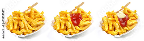 French Fries with Ketchup and Mayonnaise - Fast Food Panorama isolated on white Background