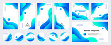 Abstract Blue Liquid Trendy Vector Backgrounds With Copy Space For Text. Social Media Stories, Posts, Highlights