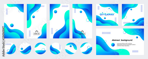 Obraz Abstract blue liquid trendy vector backgrounds with copy space for text. Social media stories, posts, highlights - fototapety do salonu