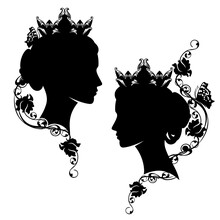 Medieval Fairy Tale Queen Or Princess With Rose Flowers And Butterfly Black And White Vector Silhouette Portrait