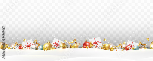 Border with red balls, stars, lights isolated on transparent background. Decorative xmas seamless banner. Vector Christmas garland, gift boxes and snow decoration pattern