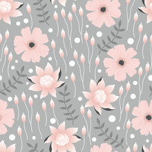 Lotus Pond Flowers Vector Seamless Pattern