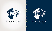 Sailor Captain In A Peaked Cap Smoking A Pipe Logo Vector