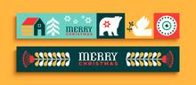 Merry Christmas Thin Web Banner Set Folk Art Icon