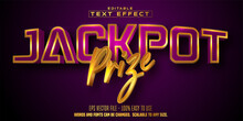 Jackpot Prize Text, Golden Color Casino Style Editable Text Effect