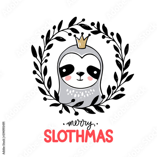 Fototapeta premium Cute princess Sloth, Merry Christmas greeting card. Vector funny illustration for winter holidays. Doodle animals