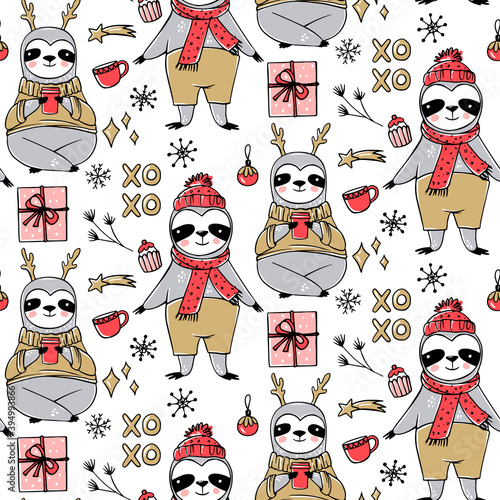 Fototapeta premium Cute Sloth seamless pattern, winter cozy background. Doodle lazy sloth bear with ugly sweater, cup of coffee.