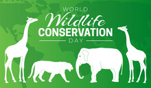 World Wildlife Conservation Day  Background Illustration With Elephant, Giraffe And Tiger