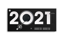 Happy New Year 2021 Party DJ's Music Panel Background. Greeting Card Headphone DJ Player Headphone 2021 Flyer. Headset DJ Equipment Date 2021 Year. Celebrate Earphones Dancing Disco Brochure