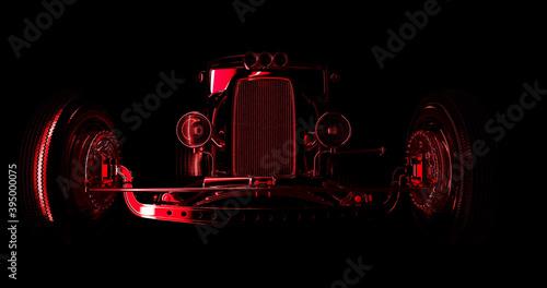 Fotografie, Obraz Hot rod black on dark background. 3D render