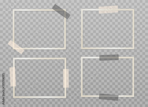 Obraz Set of beige empty photo frames with adhesive tape on a transparent background. Mockup for your design. Blank template. Vector 3d realistic. Rectangular photo card with black and beige sticky tape. - fototapety do salonu