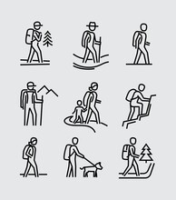 Hiking People Vector Line Icons