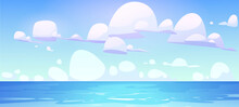 Sea Landscape With Calm Water Surface And Clouds In Blue Sky. Vector Cartoon Illustration Of Ocean Bay, Harbor Or Lake. Summer Scenery With Tropical Seascape And Marine Horizon