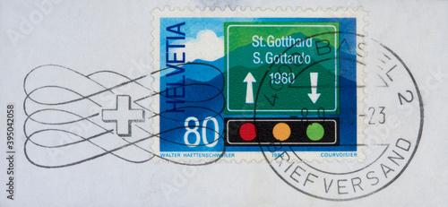 Obraz na plátne briefmarke stamp vintage retro alt old frankiert cancel gestempelt slogan helvet