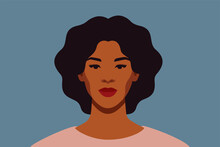 Strong Black Woman With Curly Hair Smiles And Looks Directly. Confident Young Woman With Brown Skin Portrait Front View On A Blue Background. Vector Illustration.