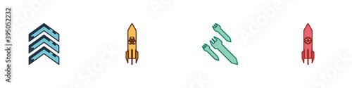 Tela Set Military rank, Biohazard rocket, Rocket and Nuclear icon