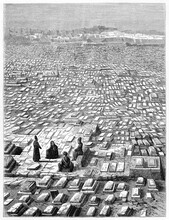 Huge View Of Katlgah Cemetery In Mashhad, Iran, With Tombs Lost On The Horizon And Praying People. Ancient Grey Tone Etching Style Art By De Bar, Le Tour Du Monde, Paris, 1861