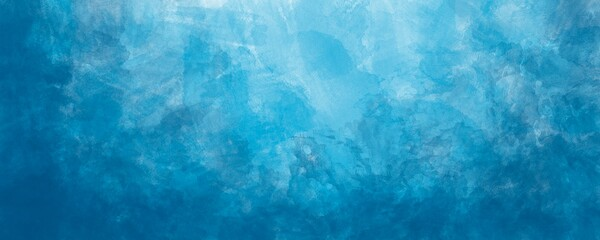 Sfondo blu acquerello con trama nuvolosa e grunge marmorizzato, nebbia morbida e illuminazione nebulosa e colori pastello. Banner web lungo.