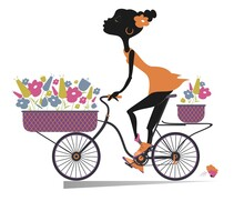Pretty Young African Woman, A Bike And Bouquets Of Flowers Illustration. Smiling Young African Woman Rides A Bike And Carries A Bouquets Of Flowers In The Baskets Isolated On White